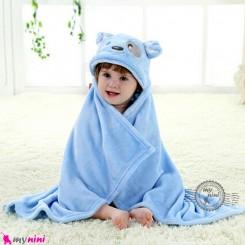 پتو کلاهدار عروسکی نوزاد و کودک آبی سگ baby hooded fleece blanket خرید سیسمونی و لوازم کودک