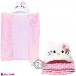 پتو کلاهدار عروسکی نوزاد و کودک صورتی کیتی baby hooded fleece blanket خرید سیسمونی و لوازم کودک