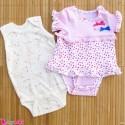 ست 2 عددی لباس زیردکمه دار نوزاد نخ پنبه 0 تا 3 ماه مارک baby bodysuits