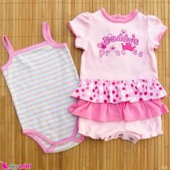 ست 2 عددی لباس زیردکمه دار کودکان نخ پنبه 6 تا 9 ماه مارک baby bodysuits
