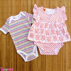 ست 2 عددی لباس زیردکمه دار کودک نخ پنبه 3 تا 6 ماه مارک baby bodysuits