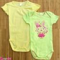 ست 2 عددی لباس زیردکمه دار کودک نخ پنبه 9 تا 12 ماه مارک baby bodysuits