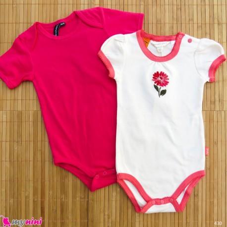 ست 2 عددی لباس زیردکمه دار کودک نخ پنبه 12 تا 18 ماه مارک baby bodysuits