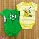 ست 2 عددی لباس زیردکمه دار کودک نخ پنبه 0 تا 3 ماه مارک baby bodysuits