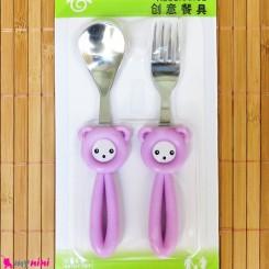 قاشق و چنگال کودک استیل موشی یاسی Baby Cartoon Tableware