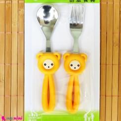 قاشق و چنگال کودک استیل موشی زرد Baby Cartoon Tableware