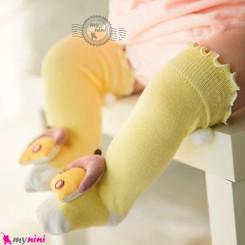 جوراب عروسکی ساق بلند پنبه ای مارک جی جی اس کیدز لیمویی خانه GGS Kids style socks