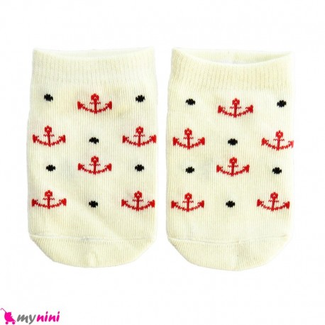 جوراب مچی نوزاد و کودک پنبه ای بدو تولد تا یکسال کِرِمی لنگر baby cute socks سیسمونی