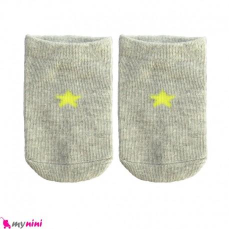 جوراب مچی نوزاد و کودک پنبه ای بدو تولد تا یکسال طوسی ستاره baby cute socks سیسمونی