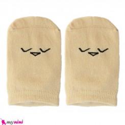 جوراب مچی نوزاد و کودک پنبه ای بدو تولد تا یکسال نسکافه ای پرنده baby cute socks سیسمونی