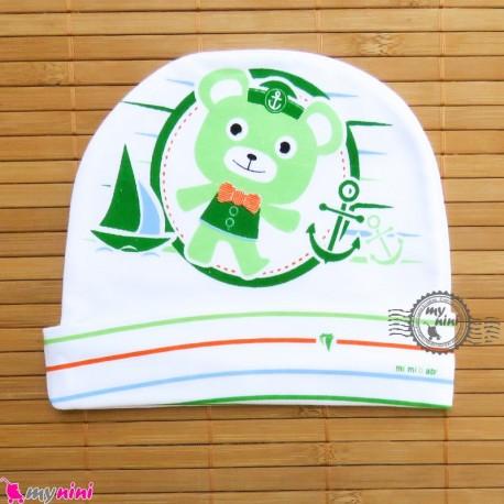 کلاه پنبه ای خرس ملوان سبز Newborn cotton hat
