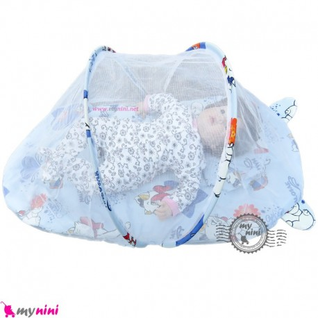 پشه بند تشک دار نوزاد و کودک مارک اسپرینگ آبی گربه Espring Baby mosquito net