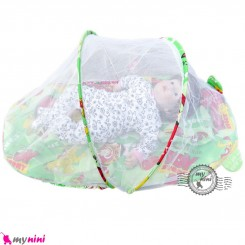 پشه بند تشک دار نوزاد و کودک مارک اسپرینگ سبز اسباب بازی Espring Baby mosquito net