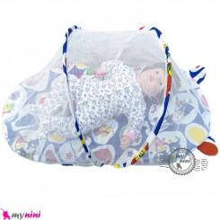 پشه بند تشک دار نوزاد و کودک مارک اسپرینگ آبی جوجه Espring Baby mosquito net