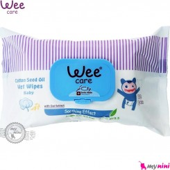 دستمال مرطوب وی کر نوزاد و کودک حاوی روغن پنبـهدانـه 72 عددی Wee Care cotton seed oil wet wipes