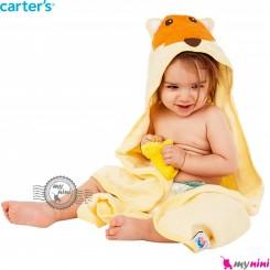 حوله نوزاد و کودک کلاه دار مارک کارترز لیمویی روباه Carter's hooded towel