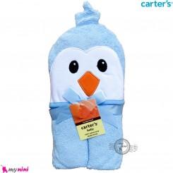 حوله کلاه دار نوزاد و کودک مارک کارترز آبی پنگوئن Carter's hooded towel