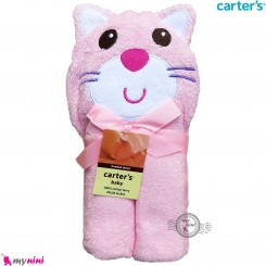 حوله کلاه دار نوزاد و کودک مارک کارترز صورتی گربه Carter's hooded towel
