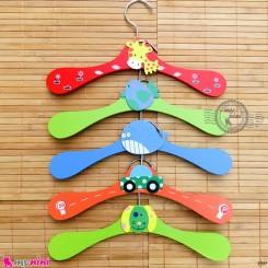 چوب لباسی چوبی سیسمونی نوزاد و کودک سیسمونی 5 عددی Wooden baby clothes hanger خرید سیسمونی و لوازم کودک