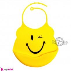 پیشبند سیلیکونی کاسه ای زرد چشمک Baby silicone bib