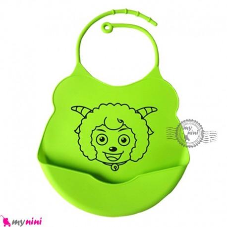 پیشبند غذا کودک سیلیکونی کاسه ای آبی سبز گوسفند Baby silicone bib