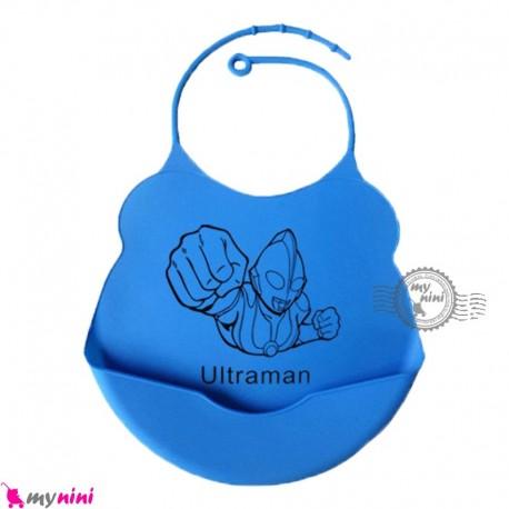 پیشبند غذا کودک سیلیکونی کاسه ای آبی لاجوردی ربات Baby silicone bib