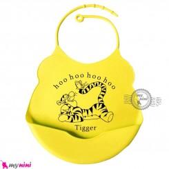 پیشبند غذا کودک سیلیکونی کاسه ای زرد ببر Baby silicone bib