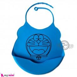 پیشبند غذا کودک سیلیکونی کاسه ای آبی لاجوردی گربه Baby silicone bib