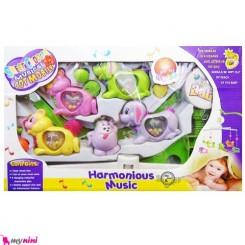 آویز تخت موزیکال نوزاد و کودک سگ و سنجاب Baby musical