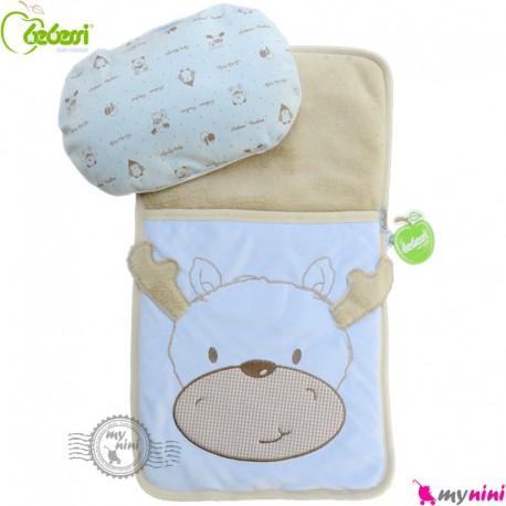 تشک بالش و قنداق نوزاد 2 کاره بِبِسی آبی گوزن Turkish Bebessi baby mattress