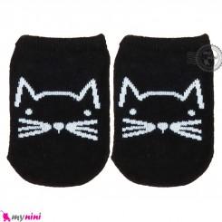 جوراب نوزاد و کودک کف استپ دار پنبه ای مارک چیچی اند کُوکُو مشکی گربه cici & coco baby cute socks