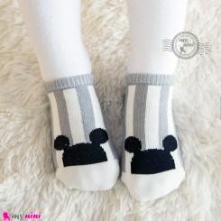 جوراب نوزاد و کودک کف استپ دار پنبه ای مارک چیچی اند راه راه میکی موس cici & coco baby cute socks