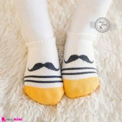 جوراب نوزاد و کودک کف استپ دار پنبه ای مارک چیچی اند کُوکُو طرح سبیل cici & coco baby cute socks