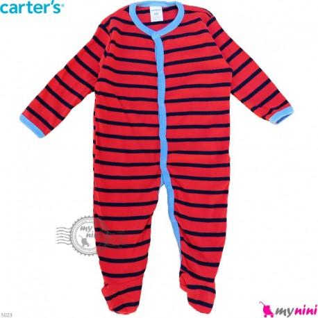 سرهمی نوزاد و کودک پنبه ای مارک کارترز 9 ماه قرمز راه راه Carter's baby bodysuit