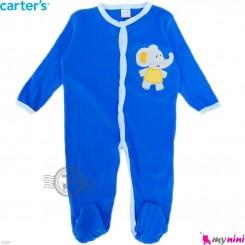 سرهمی نوزاد و کودک پنبه ای مارک کارترز 12 ماه آبی فیل Carter's baby bodysuit