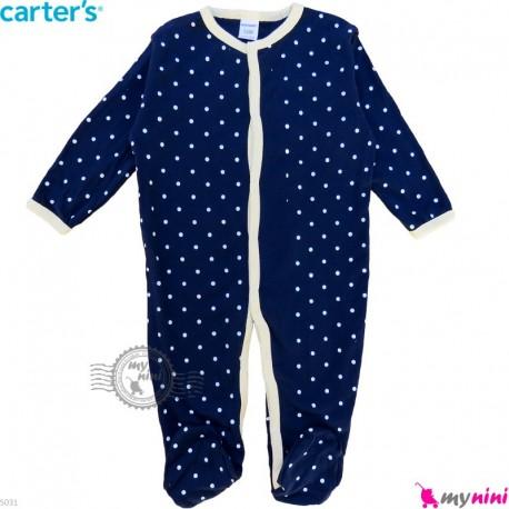 سرهمی نوزاد و کودک پنبه ای مارک کارترز 12 ماه سرمه ای خالدار Carter's baby bodysuit