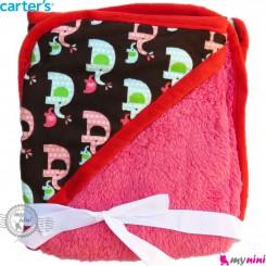 پتو کلاه دار کارترز قهوای تیره فیل پرز سرخابی Carters baby hooded fleece blanket