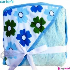 پتو کلاه دار کارترز گل پرز آبی Carters baby hooded fleece blanket