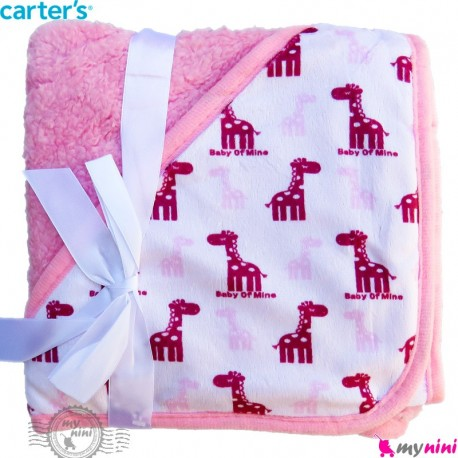 پتو کلاه دار کارترز صورتی زرافه Carters baby hooded fleece blanket