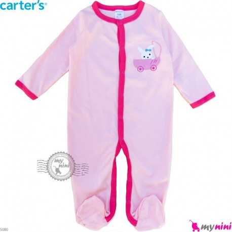 سرهمی نوزاد و کودک پنبه ای مارک کارترز 12 ماه صورتی خرگوش Carter's baby bodysuit