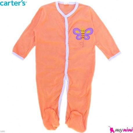 سرهمی نوزاد و کودک پنبه ای مارک کارترز 12 ماه رنگ مرجانی پروانه Carter's baby bodysuit