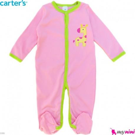 سرهمی نوزاد و کودک پنبه ای مارک کارترز 12 ماه صورتی زرافه Carter's baby bodysuit