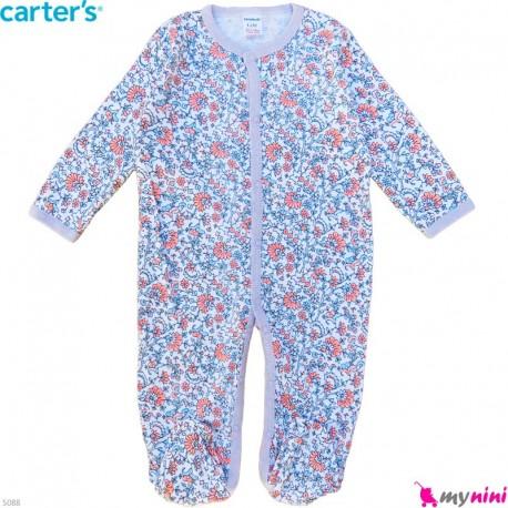 سرهمی نوزاد و کودک پنبه ای مارک کارترز 12 ماه نقش گل خِتایی Carter's baby bodysuit
