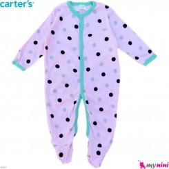 سرهمی کارترز پنبه ای نوزاد و کودک صورتی خالدار 6 ماه Carter's baby bodysuit
