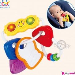 جغجغه و دندانگیر نوزاد مایع دار و ژله ای چراغدار هویلی تویز طرح کلید Huile Toys activity key teether