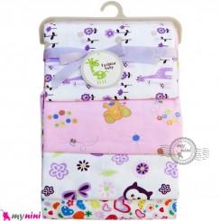 خشک کن پنبه ای نوزادی 4 عددی برند فَشن بِیبی یاسی زرافه Fashion baby newborn blankets