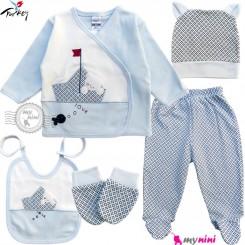 ست لباس بیمارستانی نوزاد 5 تکه 0 تا 3 ماه نخی ترکیه آبی خرس و قایق Turkish Gaye bebe baby clothes set