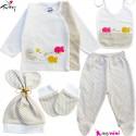 ست لباس بیمارستانی نوزاد 5 تکه 0 تا 3 ماه نخی ترکیه شیری خرگوش و ماهی Turkish Gaye bebe baby clothes set