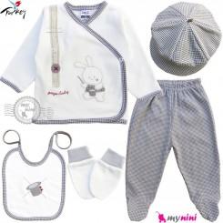 ست لباس بیمارستانی نوزاد 5 تکه 0 تا 3 ماه نخی ترکیه طوسی سفید خرگوش شعبده باز Turkish Gaye bebe baby clothes set