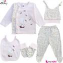 ست لباس بیمارستانی نوزاد 5 تکه 0 تا 3 ماه نخی ترکیه صورتی یخی خرس کوچولو Turkish Gaye bebe baby clothes set